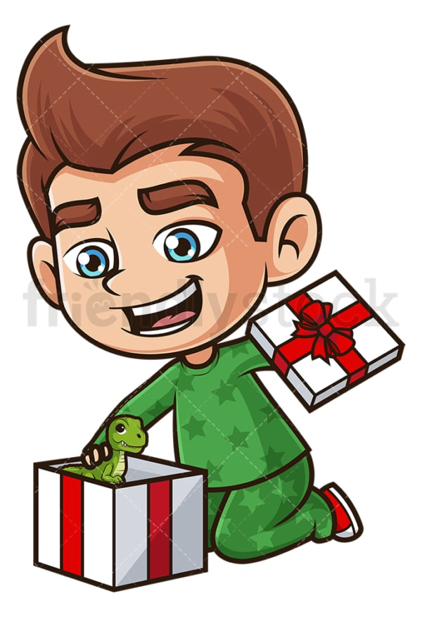 Kid opening present. PNG - JPG and vector EPS (infinitely scalable).