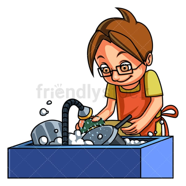Little boy washing dishes. PNG - JPG and vector EPS (infinitely scalable).