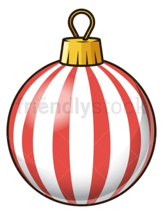 Red and white striped christmas ball. PNG - JPG and vector EPS file formats (infinitely scalable). Image isolated on transparent background.