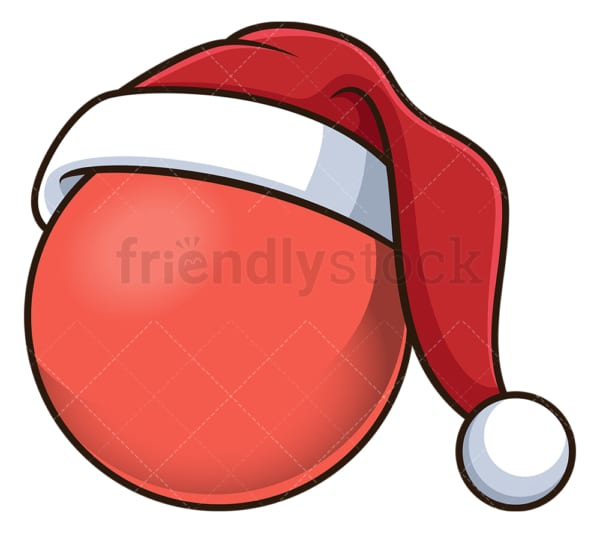 Christmas ball with santa hat. PNG - JPG and vector EPS file formats (infinitely scalable). Image isolated on transparent background.