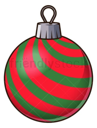 Red green striped christmas ball. PNG - JPG and vector EPS file formats (infinitely scalable). Image isolated on transparent background.