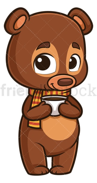 Autumn bear with hot coffee. PNG - JPG and vector EPS (infinitely scalable).