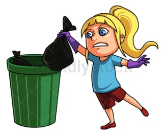 Girl taking out the trash. PNG - JPG and vector EPS (infinitely scalable).
