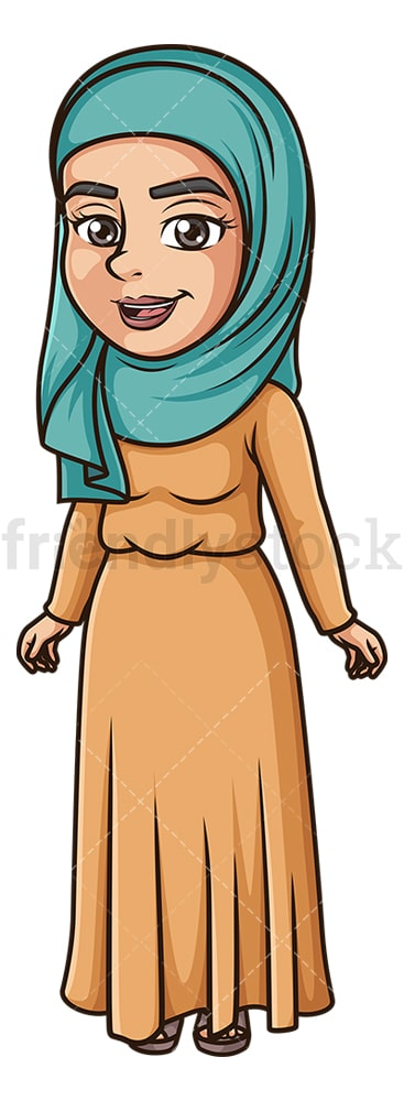 Happy muslim woman. PNG - JPG and vector EPS (infinitely scalable).