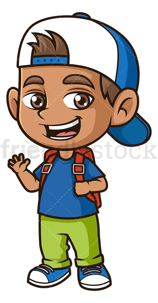 Hispanic boy going to school. PNG - JPG and vector EPS (infinitely scalable).