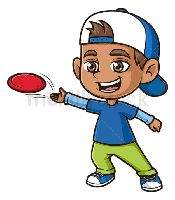 Hispanic boy playing frisbee. PNG - JPG and vector EPS (infinitely scalable).