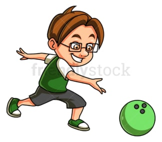 Little boy bowling. PNG - JPG and vector EPS (infinitely scalable).
