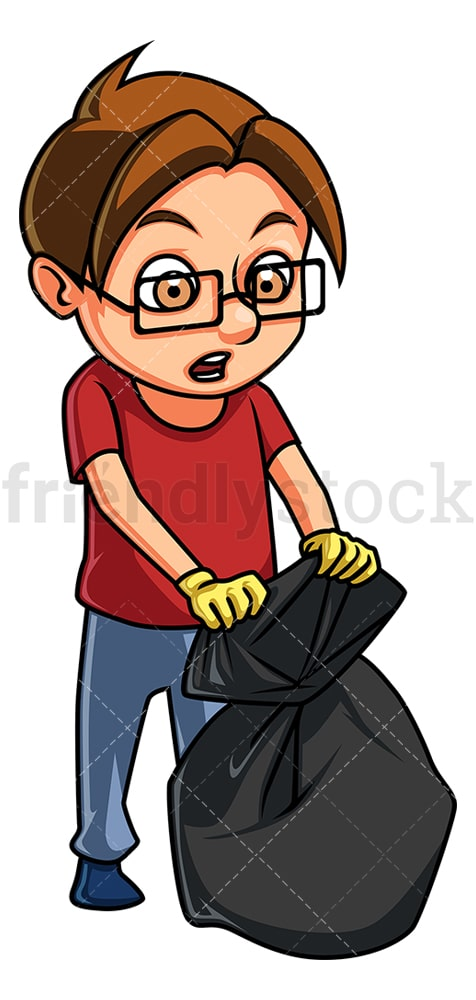 Little boy sealing trash bag. PNG - JPG and vector EPS (infinitely scalable).