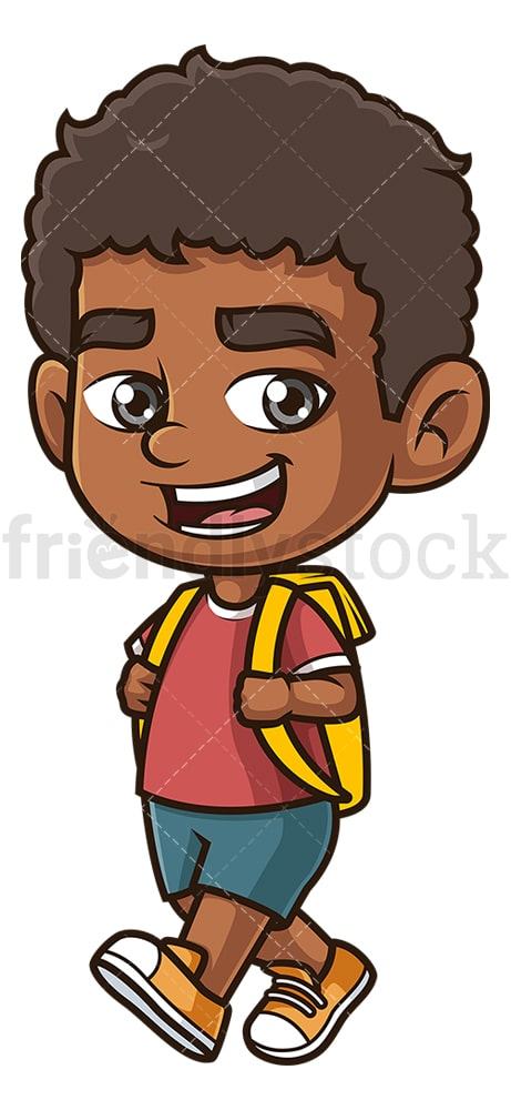 Black boy going to school. PNG - JPG and vector EPS (infinitely scalable).