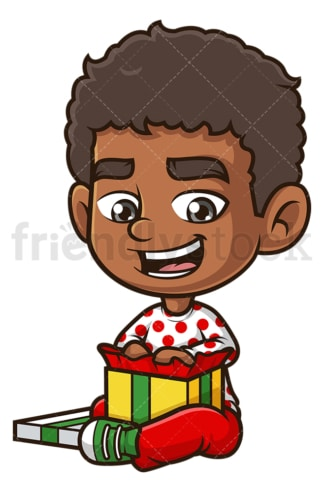 Black boy opening present. PNG - JPG and vector EPS (infinitely scalable).