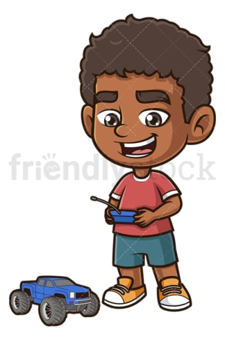 Black kid playing with remote control truck. PNG - JPG and vector EPS (infinitely scalable).