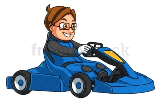 Boy driving go-kart. PNG - JPG and vector EPS (infinitely scalable).
