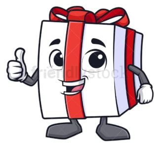 Gift box thumbs up. PNG - JPG and vector EPS (infinitely scalable).