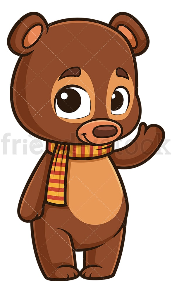 Happy autumn bear waving. PNG - JPG and vector EPS (infinitely scalable).