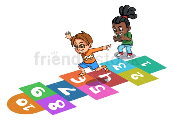 Kids playing hopscotch. PNG - JPG and vector EPS (infinitely scalable).