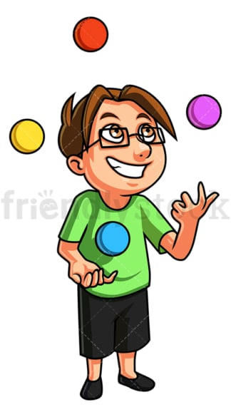 Little boy juggling. PNG - JPG and vector EPS (infinitely scalable).