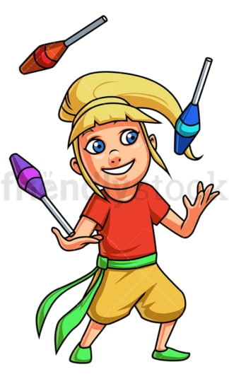 Little girl juggling. PNG - JPG and vector EPS (infinitely scalable).
