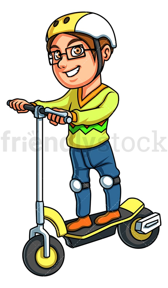 Boy riding electric scooter. PNG - JPG and vector EPS (infinitely scalable).