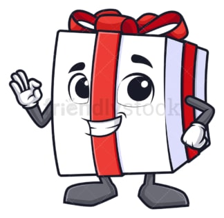 Gift box a-ok gesture. PNG - JPG and vector EPS (infinitely scalable).