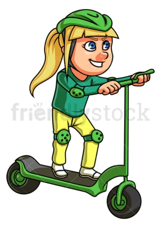 Girl riding electric scooter. PNG - JPG and vector EPS (infinitely scalable).