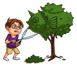 Little boy gardening. PNG - JPG and vector EPS (infinitely scalable).