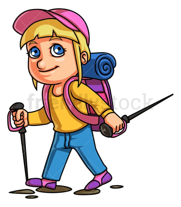 Little girl hiking. PNG - JPG and vector EPS (infinitely scalable).