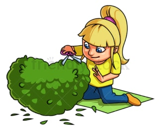Little girl trimming bush. PNG - JPG and vector EPS (infinitely scalable).