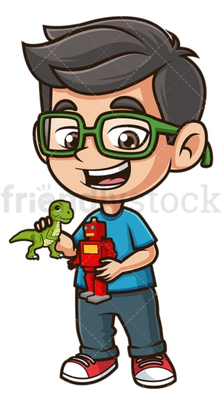 Nerdy kid playing with dinosaur and robot. PNG - JPG and vector EPS (infinitely scalable).
