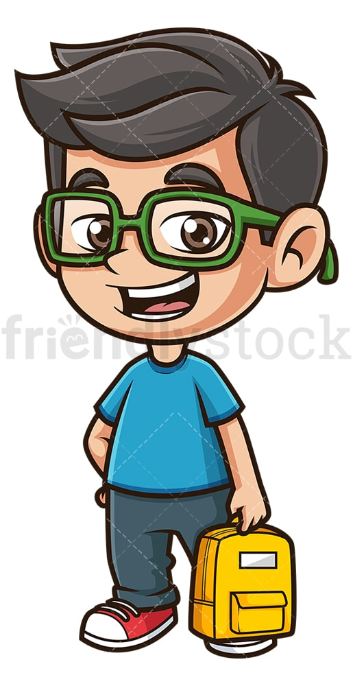 School boy with backpack. PNG - JPG and vector EPS (infinitely scalable).