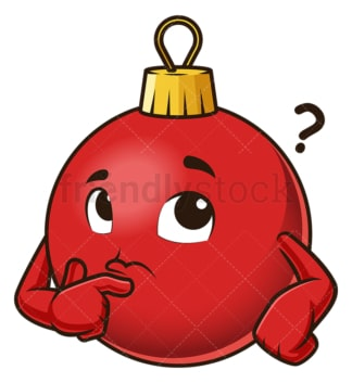 Thinking christmas ball mascot. PNG - JPG and vector EPS (infinitely scalable).