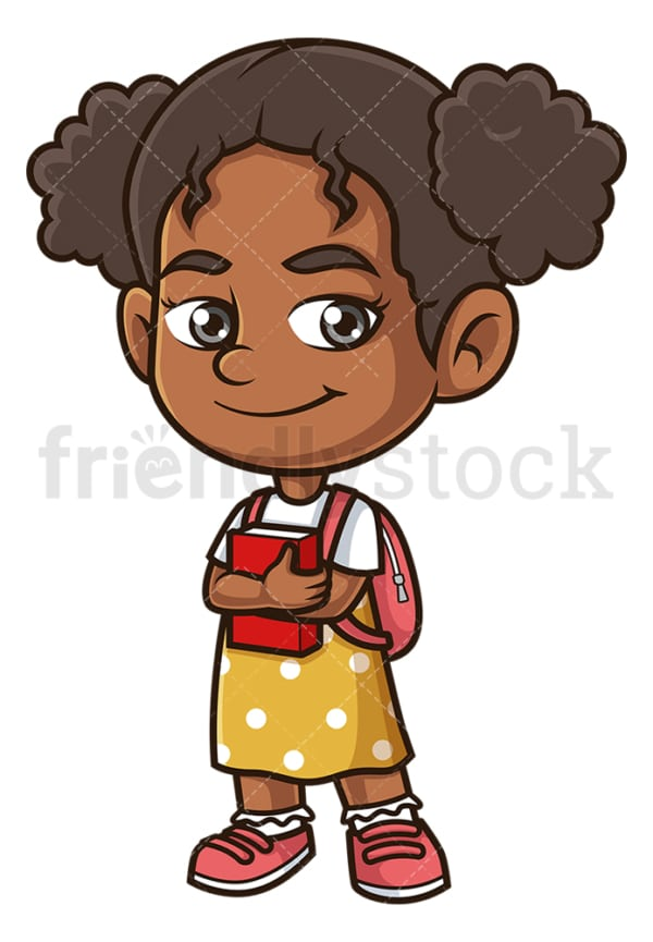 African-American school girl. PNG - JPG and vector EPS (infinitely scalable).