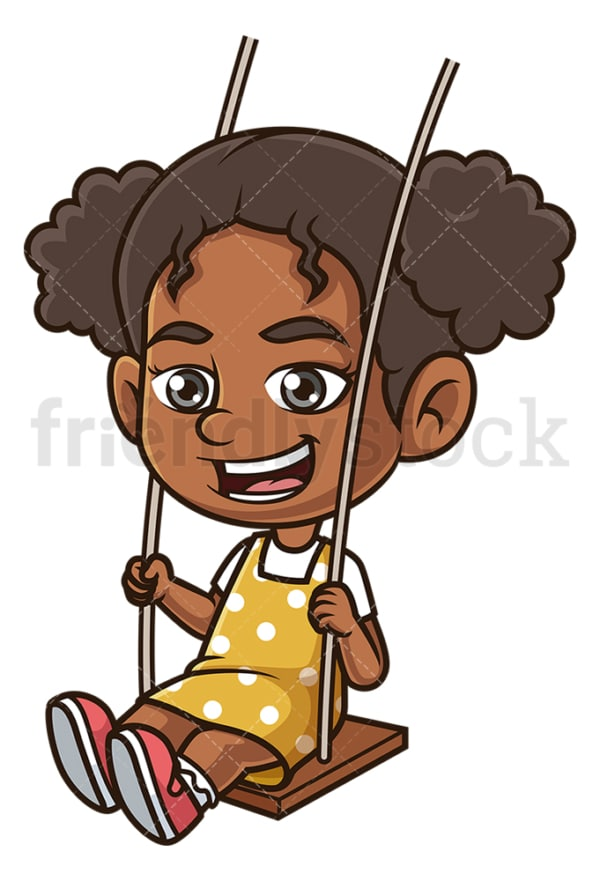 Black girl on a swing. PNG - JPG and vector EPS (infinitely scalable).