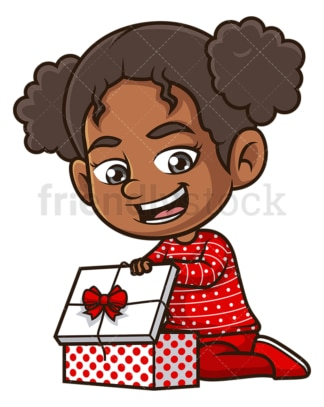 Black girl opening present. PNG - JPG and vector EPS (infinitely scalable).