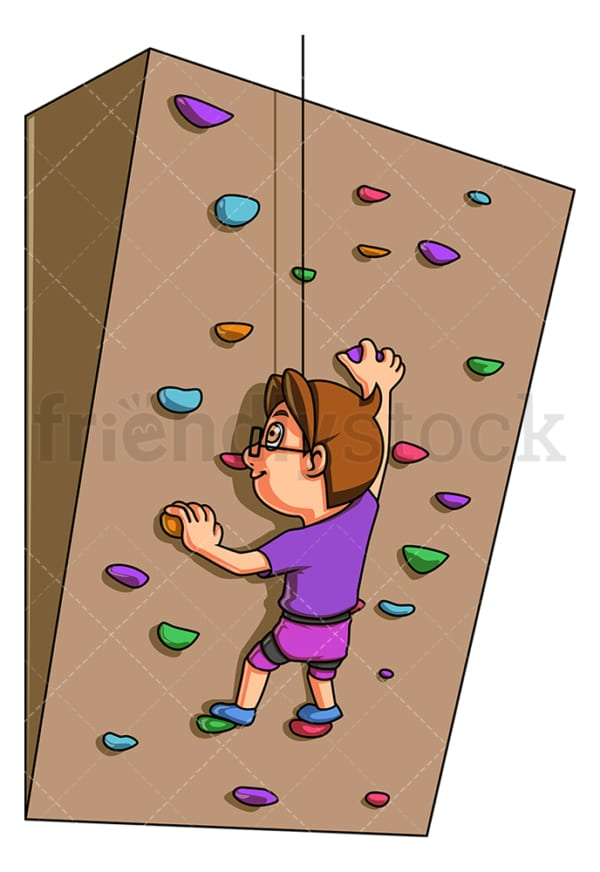 Boy doing indoor bouldering. PNG - JPG and vector EPS (infinitely scalable).