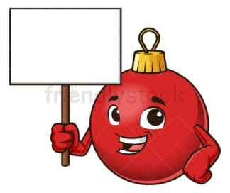 Christmas ball mascot blank sign. PNG - JPG and vector EPS (infinitely scalable).
