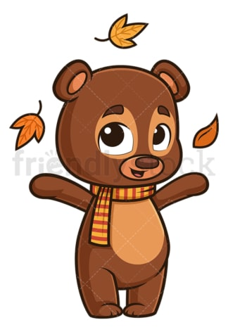 Cute bear autumn leaves. PNG - JPG and vector EPS (infinitely scalable).