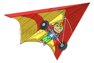 Girl hang gliding. PNG - JPG and vector EPS (infinitely scalable).