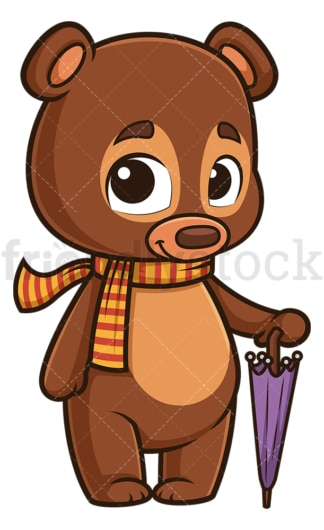 Autumn bear with umbrella. PNG - JPG and vector EPS (infinitely scalable).