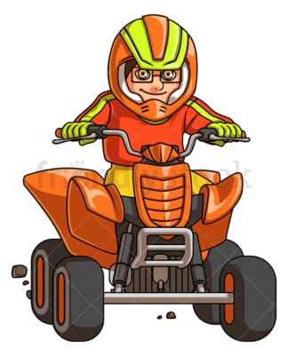 Boy riding quad bike. PNG - JPG and vector EPS (infinitely scalable).