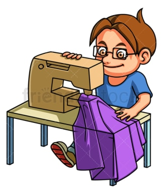 Boy using sewing machine. PNG - JPG and vector EPS (infinitely scalable).