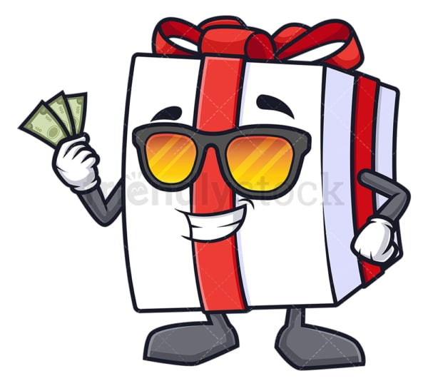 Cool gift box holding cash. PNG - JPG and vector EPS (infinitely scalable).