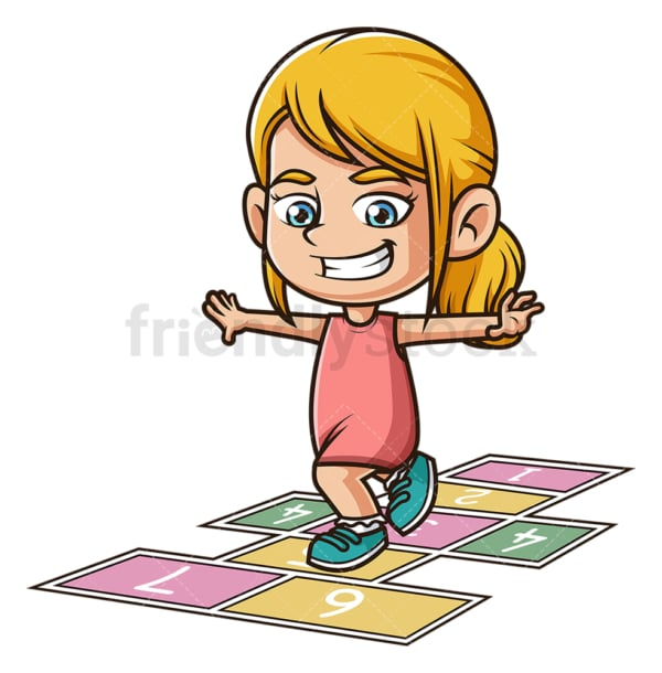 Little girl playing hopscotch. PNG - JPG and vector EPS (infinitely scalable).