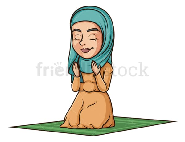 Muslim woman praying. PNG - JPG and vector EPS (infinitely scalable).