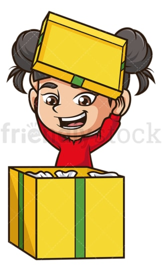 Asian girl opening present. PNG - JPG and vector EPS (infinitely scalable).