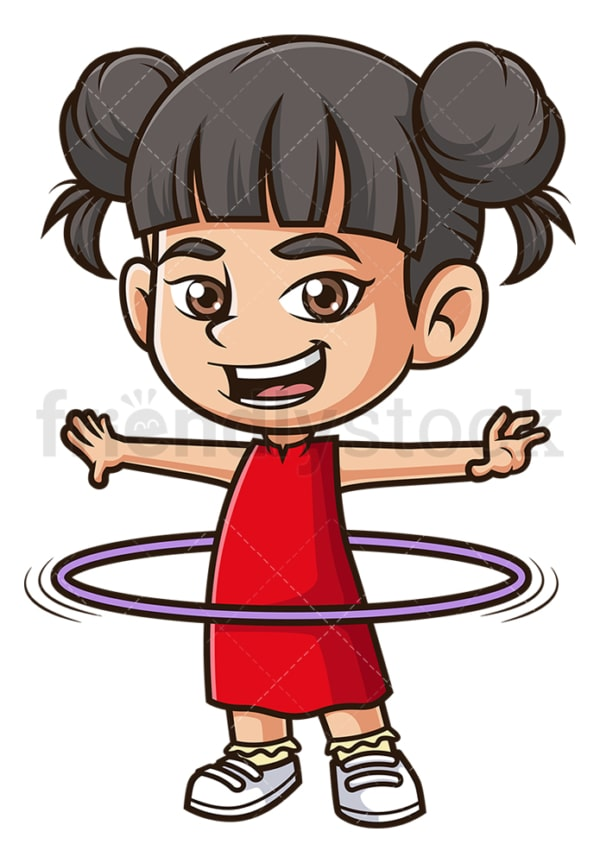 Asian girl playing hula hoop. PNG - JPG and vector EPS (infinitely scalable).