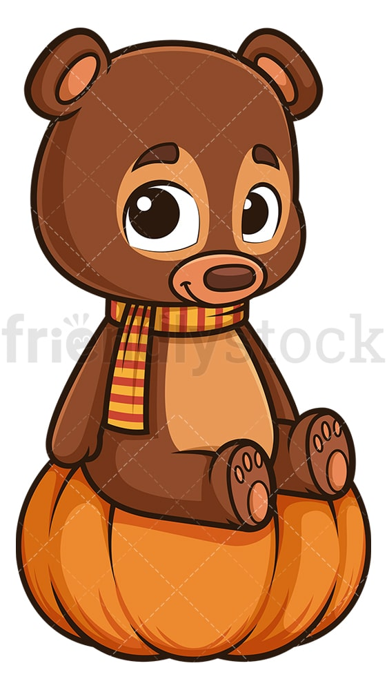 Autumn bear sitting on pumpkin. PNG - JPG and vector EPS (infinitely scalable).