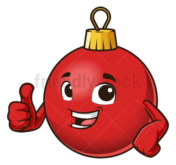 Christmas ball thumbs up. PNG - JPG and vector EPS (infinitely scalable).