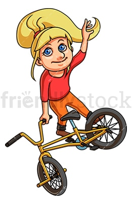 Girl performing bmx bike stunt. PNG - JPG and vector EPS (infinitely scalable).
