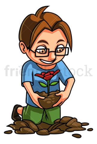 Little boy planting flower. PNG - JPG and vector EPS (infinitely scalable).