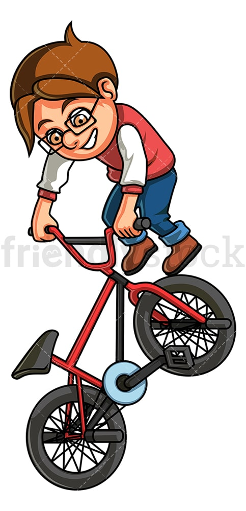 Little boy riding bmx bike. PNG - JPG and vector EPS (infinitely scalable).